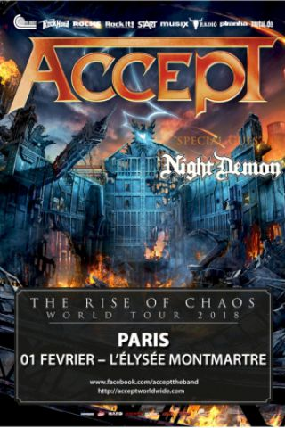 Concert ACCEPT  à PARIS @ ELYSEE MONTMARTRE - Billets & Places