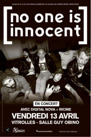 Concert NO ONE IS INNOCENT + DIGITAL NOVA + RICINE à VITROLLES @ Salle Guy Obino - Billets & Places