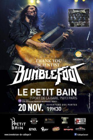 Concert BUMBLEFOOT + Thank You Scientist + Conscience à PARIS @ Petit Bain - Billets & Places