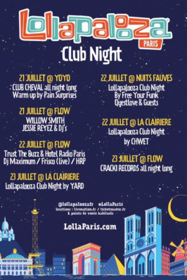 Billets LOLLAPALOOZA CLUB NIGHT BY YARD - LA CLAIRIÈRE
