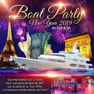 """Boat Deluxe """"New Year 2019"""" Tour Eiffel Sur La Seine"""