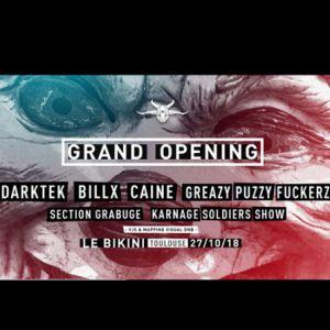 Karnage G.O : BILLX + DARKTEK + GPF + SECTION GRABUGE + CAINE @ LE BIKINI - RAMONVILLE