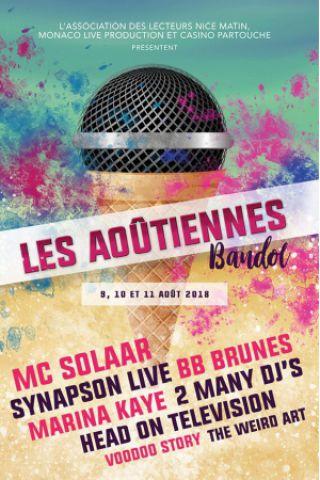 Festival LES AOUTIENNES 2018 - PASS 1 JOUR à BANDOL @ Stade Andre Deferrari - Billets & Places